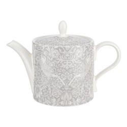 Pure Morris - Strawberry Thief Teapot, 1.1 litre, grey/white