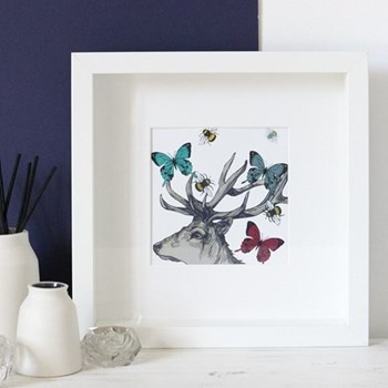 Stag With Bees & Butterflies Mounted print, 25.5 x 25.5cm, white frame
