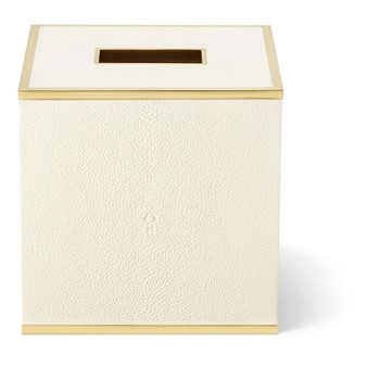 Classic Shagreen Tissue box cover, cream