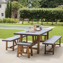 Chilson Table and bench set - large, Acacia & Cement