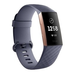 Fitbit Charge 3 Activity tracker with heart rate monitor, W2.9 x D25.7cm, blue grey & rose gold