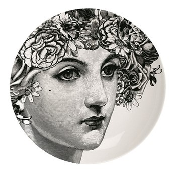 Flower Lady Plate, Dia25.5cm, black/white