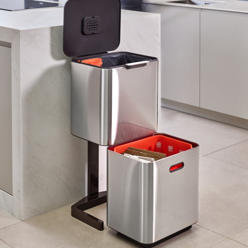 Totem Max Waste separation and recycling bin, H81.5 x W39 x D36.5cm - 60 litre, Stainless Steel