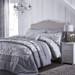 Damask Jacquard Bedspread, 240 x 260cm, Silver