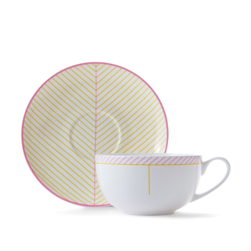 Ebb Cappuccino cup and saucer, Pink/Yellow