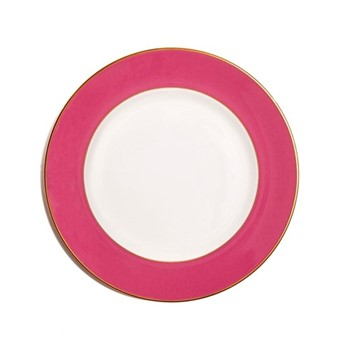 In Colour Dinner plate, 27cm, crisp white with raspberry pink border