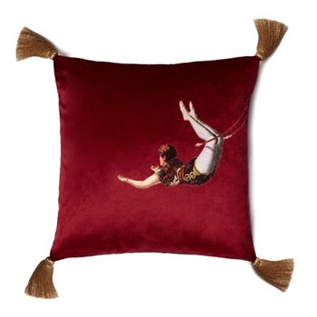 Trapeze Girl Velvet cushion, 45cm, Deep Berry Red