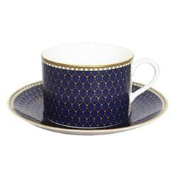 Antler Trellis Teacup & saucer, midnight blue and gold