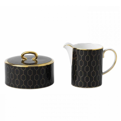 Arris Covered sugar bowl and creamer set, Charcoal With Gold Band