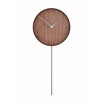 Swing Wall hanging clock with swinging pendulum, L80 x D34cm, polished steel/walnut