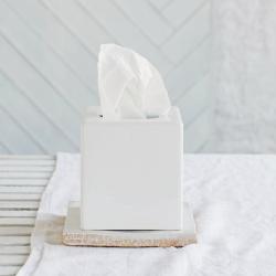 Newcombe Tissue box cover, H15 x W13.5 x L13.5cm, White Ceramic