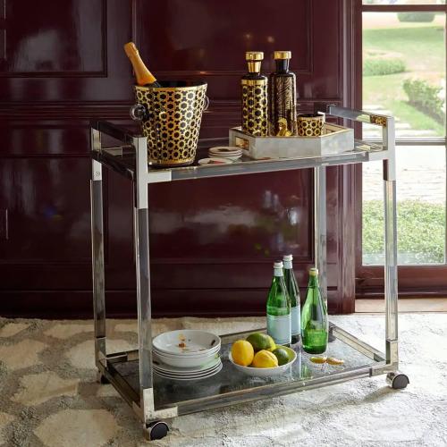 Jacques Bar cart, W81 x D45.7 x H84cm, nickel/smoke lucite