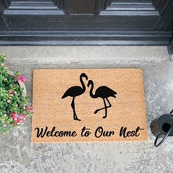 Welcome To Our Nest Flamingo Doormat, L60 x W40 x D1.5cm, natural/black