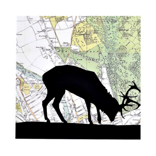 Stags Rutting Unframed silhouette image with personalised map, 35 x 30cm