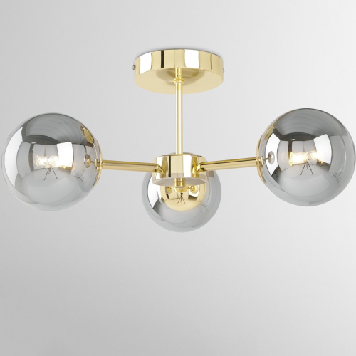 Globe Flush Pendant, H21 x W48cm, Brass And Smoked Glass