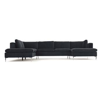 Monterosso Left hand facing corner sofa, H80 x W351 x D230cm, sapphire blue velvet