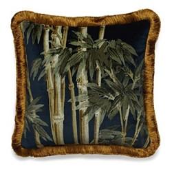 Bambusa Fringed velvet cushion, L45 x W45cm, midnight