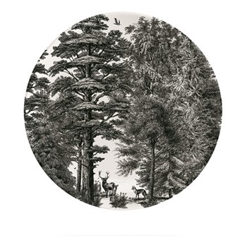 Enchanted Forest Plate, Dia20cm, black/white