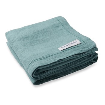 Linen beach towel, reef green