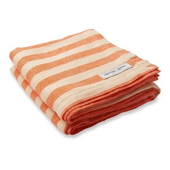 Stripe Linen beach towel, orange and off white