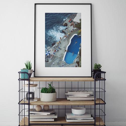 Slim Aarons - Pool On Amalfi Coast Framed photograph, H71 x W56cm