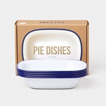 Set of 4 enamel pie dishes D20cm