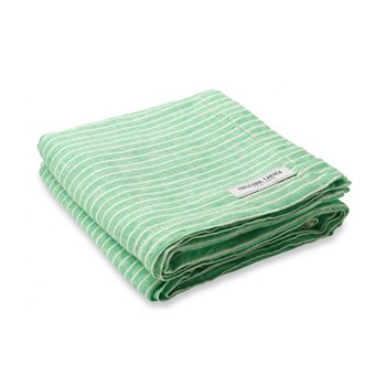 Stripe Linen beach towel, green and white