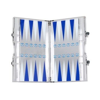 Eye Backgammon set, L35.3 x W21.4 x H4.7cm, white and blue