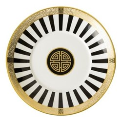 Satori Black Coupe saucer, 15.5cm, black/white/gold