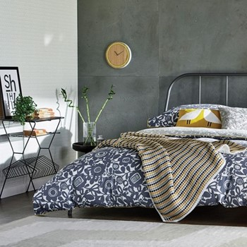 Kukkia King size duvet cover, L220 x W230cm, ink and charcoal