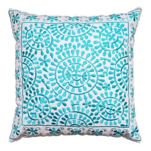 Souk Embroidered cushion, L40 x W40cm, Turquoise