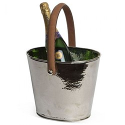 Leather Handled Wine cooler, H24 x D26cm, silver plate