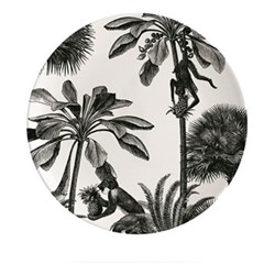 Tropical Paradise Plate, Dia20cm, black/white