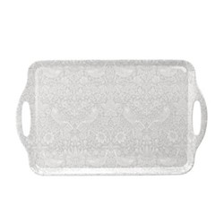 Pure Morris - Strawberry Thief Large tray, 48 x 29.5cm, grey/white