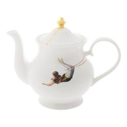 Trapeze Large teapot, H18 x W22 x D10cm, crisp white/burnished gold details