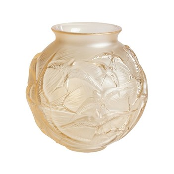 Hirondelles Vase, H21.5 x D21.5cm, gold luster/satin finish