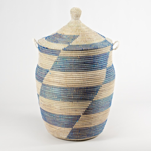 Ali Baba Laundry basket, 80 x 43cm, natural and blue