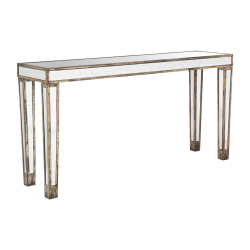 Versailles Mirrored console table, 154 x 40 x 78cm, Weathered Oak Finish