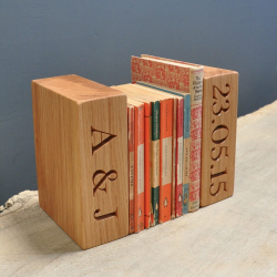 Personalised single bookend, oak