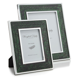 """Feather and Glass Photograph frame, 10 x 8"""", green pheasant"""