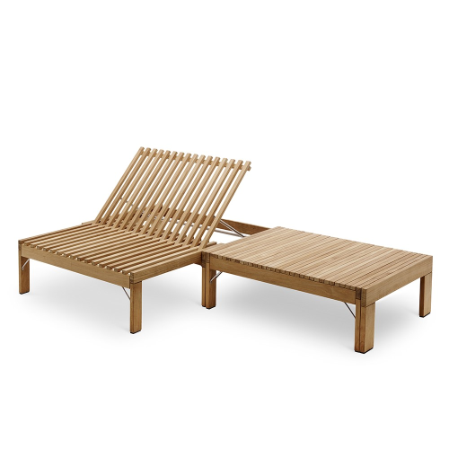 Riviera Lounger with table, 33cmx203cmx67.3cm, Beige/ Natural