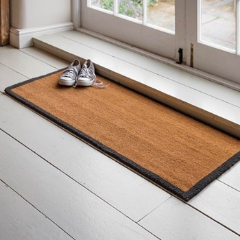 Double doormat with charcoal border, coir