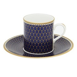 Antler Trellis Coffee cup & saucer, midnight blue and gold