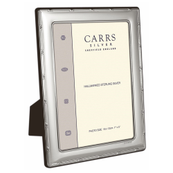 """Portland Series - Reed and Ribbon Photograph frame, 7 x 5"""", sterling silver with mahogany finish back"""