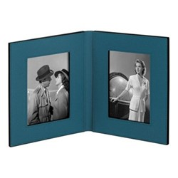 "Book Double photograph frame, 6 x 4"", petrol blue"