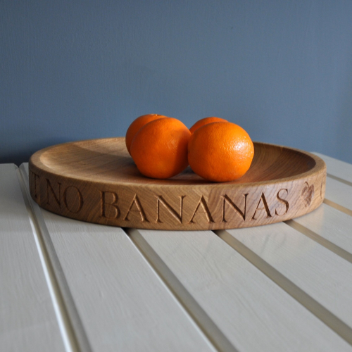 Personalised large fruit or salad bowl, 38cm, oak