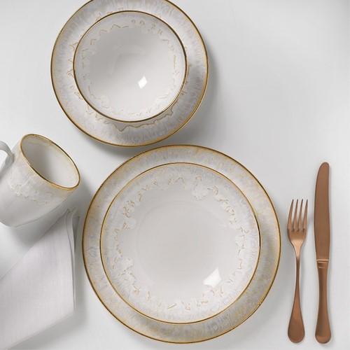 Taormina Set of 6 soup/pasta plates, 21.5cm, White/Gold