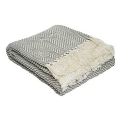 Herringbone Throw, L230 x W130cm, dove grey