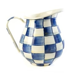 Royal Check Pitcher, D15.25 x H22.86cm, blue & white
