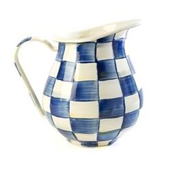 Royal Check Pitcher, D15.25 x H22.86cm, blue & white